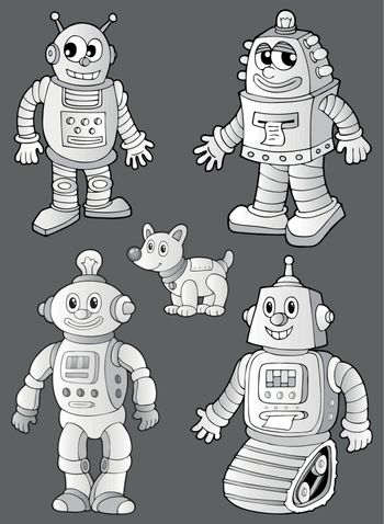 Black and white robots on grey