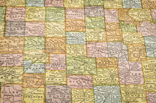 central Kansas on vintage map