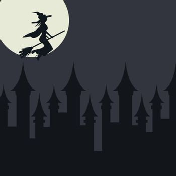 Halloween card template with witch flying over the town. Flat vector scary horror halloween card.