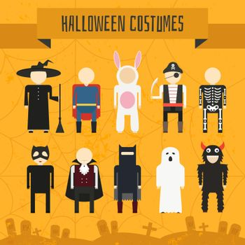 Illustration of popular halloween costumes, including vampire, rabbit, superhero, pirate, skeleton, monster, witch. Vector halloween illustration.