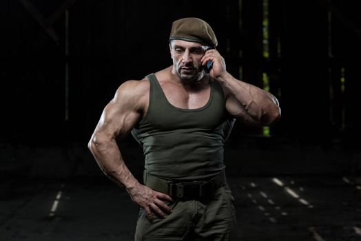 Military Man Talking On Cell Phone