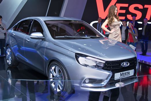 MOSCOW-SEPTEMBER 2: Lada Vesta concept at the Moscow International Automobile Salon on September 2, 2014 in Moscow, Russia