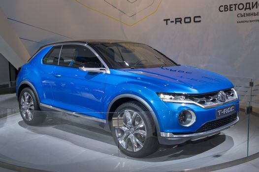 MOSCOW-SEPTEMBER 2: Volkswagen T-Roc concept at the Moscow International Automobile Salon on September 2, 2014 in Moscow, Russia