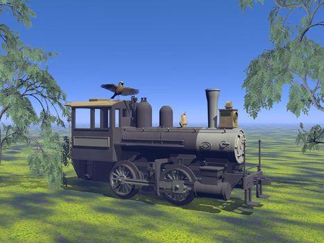 old neglected locomotive - 3d render
