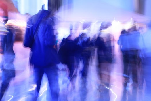 people walking in modern office, abstract blurred motion