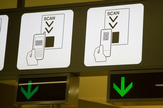 Automatic check in gates at the airport terminal