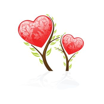 Valentine's Day tree icon isolated on white background
