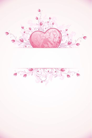 Abstract Valentines Day Card Template with Heart and florals