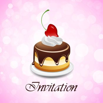 Valentines Day Background Invitation with Cake