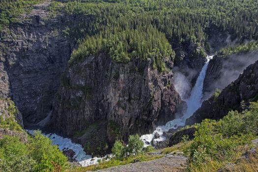 Rjukanfossen waterfall in Norway seen from above