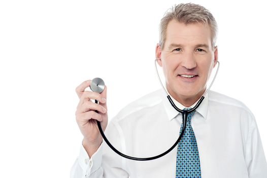 Doctor posing with stethoscope