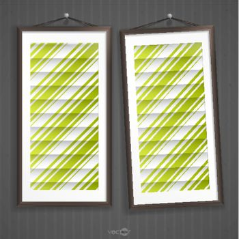 Two  Frames Of Picture On A Striped Old Wall
