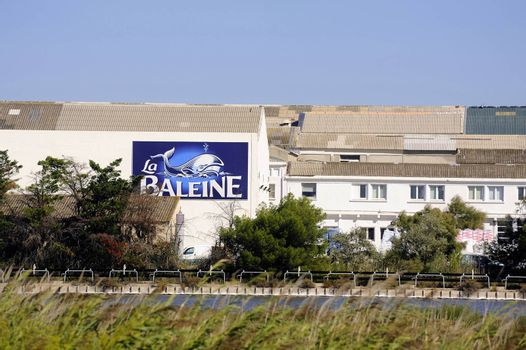 The buildings of the industrial enterprise saline Aigues-Mortes in Camargue with the panel in the name and the logo of the brand.