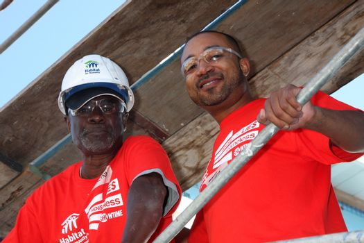 """Glynn Turman, Theo Travers at the Habitat for Humanity build by Showtime's """"House of Lies"""" and Shameless, Magnolia Blvd, Lynwood, CA 10-25-14 David Edwards/DailyCeleb.com 818-915-4440/ImageCollect"""