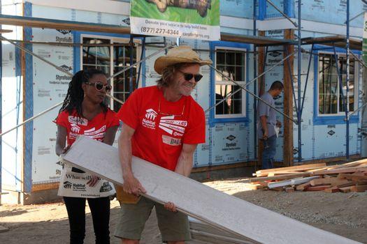 "Shanola Hampton, William H. Macy at the Habitat for Humanity build by Showtime's ""House of Lies"" and Shameless, Magnolia Blvd, Lynwood, CA 10-25-14 David Edwards/DailyCeleb.com 818-915-4440/ImageCollect"