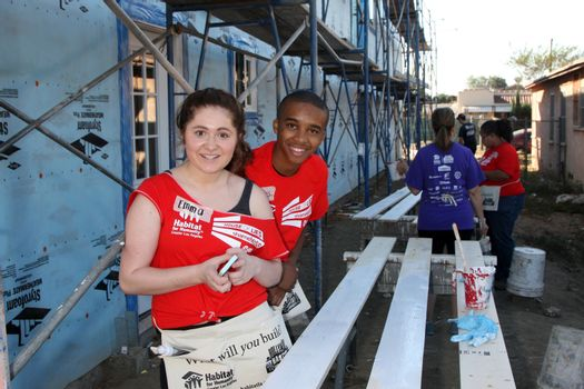 """Emma Kenney, Donis Leonard Jr. at the Habitat for Humanity build by Showtime's """"House of Lies"""" and Shameless, Magnolia Blvd, Lynwood, CA 10-25-14 David Edwards/DailyCeleb.com 818-915-4440/ImageCollect"""