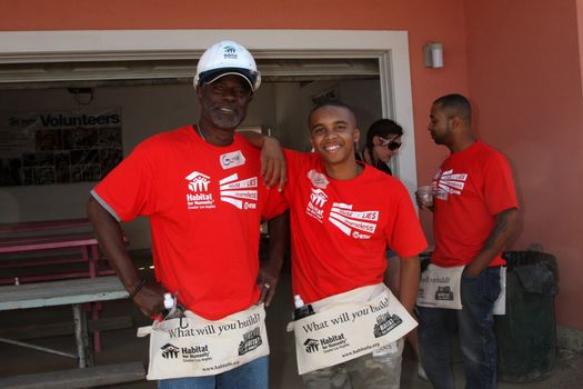 """Glynn Turman, Donis Leonard Jr. at the Habitat for Humanity build by Showtime's """"House of Lies"""" and Shameless, Magnolia Blvd, Lynwood, CA 10-25-14 David Edwards/DailyCeleb.com 818-915-4440/ImageCollect"""