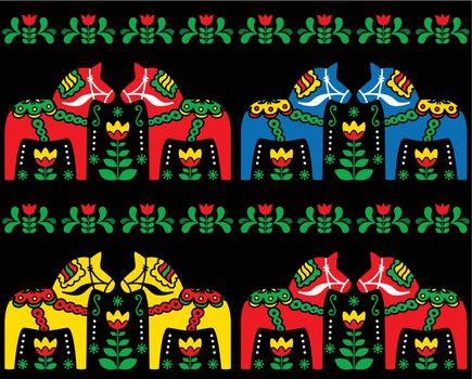 Swedish Dala horse folk art seamless pattern on black
