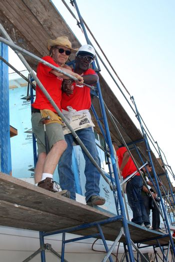 """William H. Macy, Glynn Turman at the Habitat for Humanity build by Showtime's """"House of Lies"""" and Shameless, Magnolia Blvd, Lynwood, CA 10-25-14 David Edwards/DailyCeleb.com 818-915-4440/ImageCollect"""