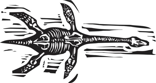 Woodcut style image of the plesiosaurus aquatic dinosaur