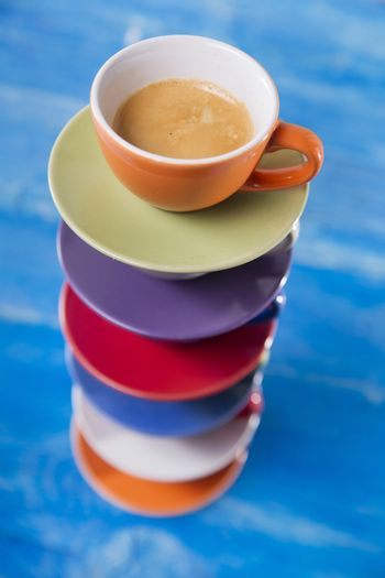 Tower of cups of coffee