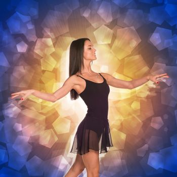 Beautiful dancer. Glow multicolor pentagons as backdrop
