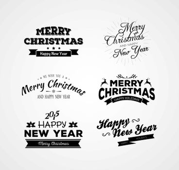 Vector illustration of Christmas and New year calligraphy set