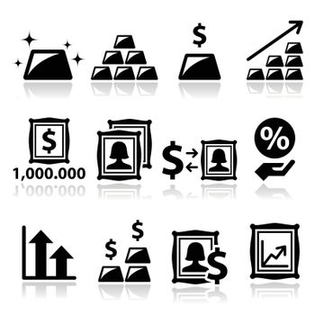 Alternative investments - investing money in gold and art icons