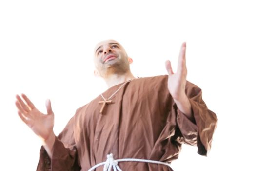 friar francisan in white background
