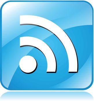 Illustration of blue square design icon for wifi