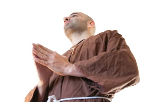 friar franciscan in white background