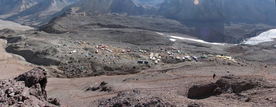 Tents in the camp, Andes