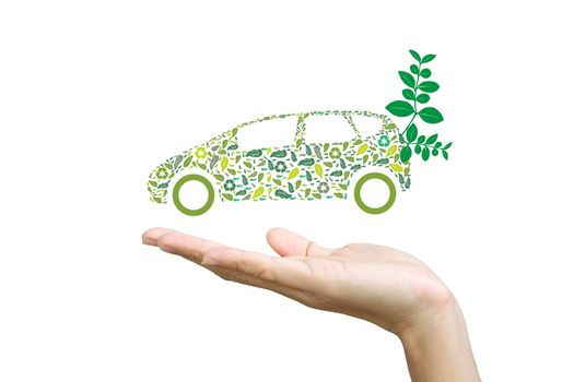 Car silhouette with green leaves