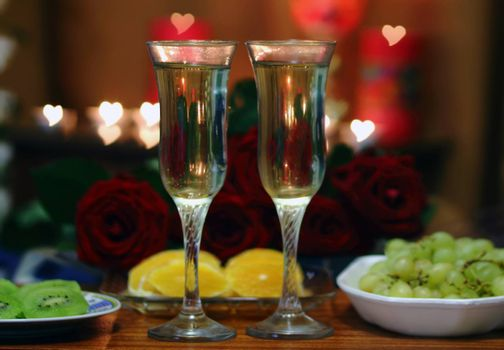 valentine day of champagne and candle