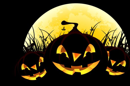 Halloween background with pumpkins in grass and moon