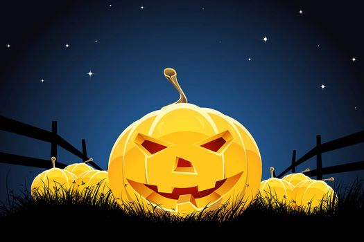Halloween night background with pumpkins grass and stars