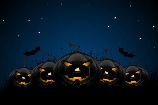 Halloween night background with pumpkins bats grass and stars