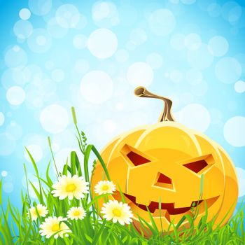 Halloween Background with Grass Flowers and Pumpkin