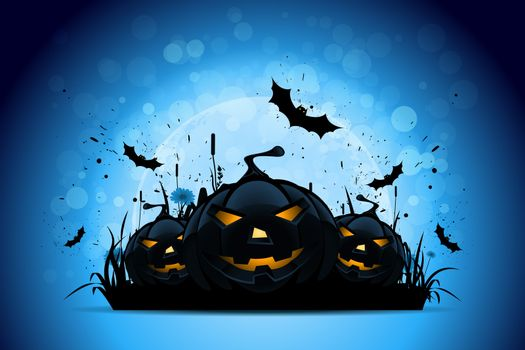 Halloween Background with Pumpkins in the Grass Bats and Moon
