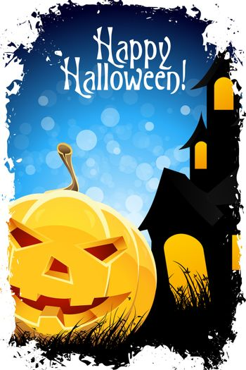 Grungy Halloween Background with Pumpkin and House