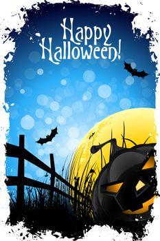 Grungy Halloween Background with Pumpkin, Bats, Grass and Full Moon