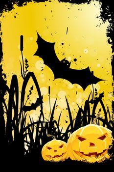Grungy Halloween Background with Pumpkins, Bats and Grass