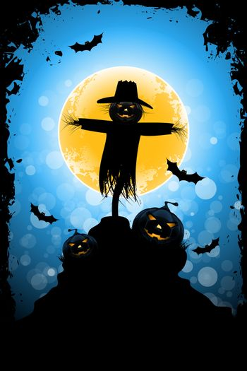 Grungy Halloween Background with Scarecrow, Pumpkin, and Full Moon