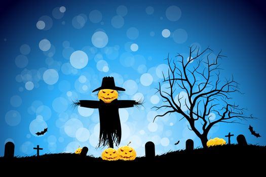 Halloween Party Background with Scarecrow Pumpkins and Bats