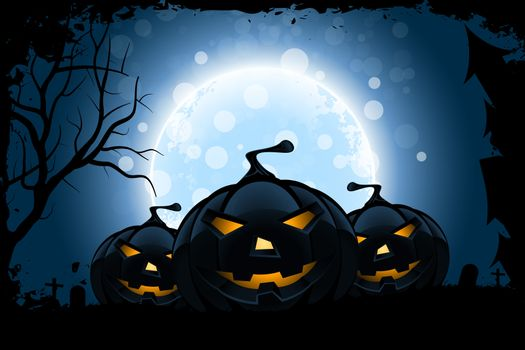 Grungy Halloween Background with Moon and Pumpkins