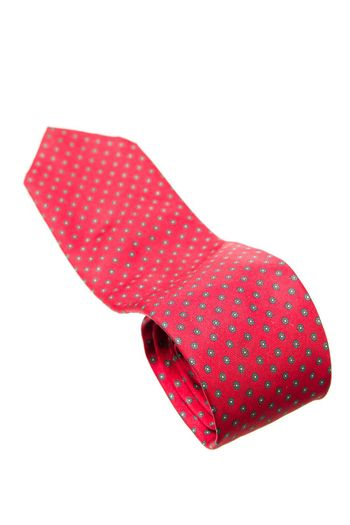 red with green dots business neck tie isolated on white background
