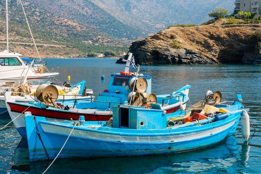 Fishing boats in the harbor of Bali. Crete, Greece, Europe