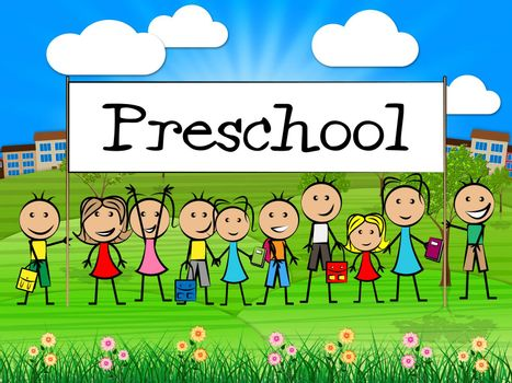 Preschool Kids Banner Showing Day Care And Children's