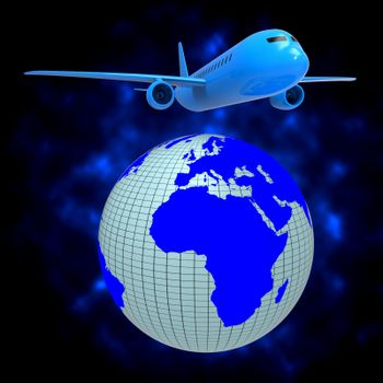 World Plane Representing Travel Guide And Planet