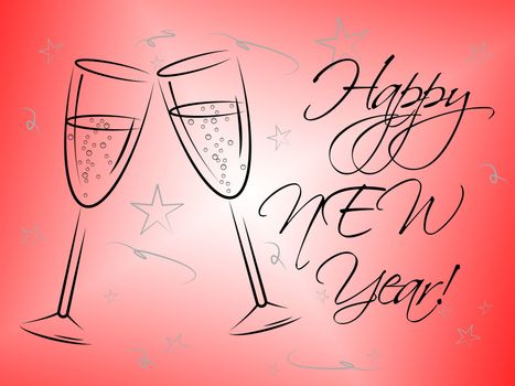 Happy New Year Showing Celebrations Party And Fun